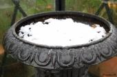 Jernkrukke med sne